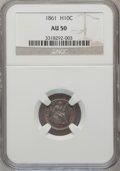 Seated Half Dimes: , 1861 H10C AU50 NGC. NGC Census: (8/481). PCGS Population (14/399).Mintage: 3,361,000. Numismedia Wsl. Price for problem fr...