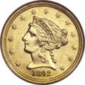 Liberty Quarter Eagles, 1842-D $2 1/2 AU58 NGC. Variety 3-F....