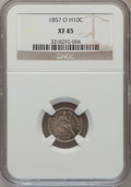 Seated Half Dimes: , 1857-O H10C XF45 NGC. NGC Census: (4/169). PCGS Population(14/149). Mintage: 1,380,000. Numismedia Wsl. Price for problem ...