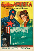 "Movie Posters:Serial, Captain America (Republic, 1944). One Sheet (27"" X 41""). Chapter 15-- The Toll of Doom."". ..."