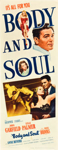 "Movie Posters:Film Noir, Body and Soul (United Artists, 1947). Insert (14"" X 36"").. ..."