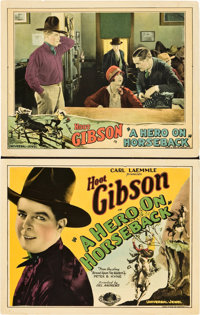 """A Hero on Horseback (Universal, 1927). Title Lobby Card and Lobby Card (11"""" X 14""""). ... (Total: 2 Items)"""