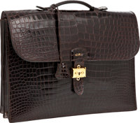 Hermes Havana Shiny Porosus Crocodile Sac a Depeches Briefcase with Gold Hardware, Retail ~$50,000