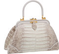 Luxury Accessories:Bags, Judith Leiber Beige & Gray Matte Alligator Bag with Coin Purse& Strap. ...