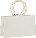 Luxury Accessories:Bags, Judith Leiber White Leather Top Handle Bag. ...
