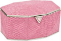 Luxury Accessories:Bags, Judith Leiber Pink Full Chalk Bead Jewelry Box Evening Bag. ...