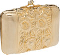 Luxury Accessories:Bags, Judith Leiber Gold Sunflower Motif Early Design Minaudiere EveningBag. ...