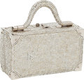 Luxury Accessories:Bags, Judith Leiber Silver Bead Early Design Suitcase Minaudiere EveningBag. ...