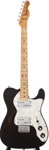 Musical Instruments:Electric Guitars, 1975 Fender Telecaster Thinline Black Solid Body Electric Guitar,#655210....