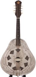 Musical Instruments:Banjos, Mandolins, & Ukes, Early 1930s National Resonator Model Nickel Mandolin, #155....