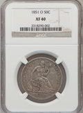 Seated Half Dollars: , 1851-O 50C XF40 NGC. NGC Census: (4/30). PCGS Population (5/55).Mintage: 402,000. Numismedia Wsl. Price for problem free N...