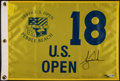 """Golf Collectibles:Autographs, Tiger Woods Signed """"Upper Deck Authenticated"""" Flag...."""