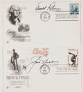 Autographs:Celebrities, [Golf] Arnold Palmer and Jack Nicklaus Signed First Day Covers(2)....