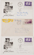 Autographs:Statesmen, [Kennedy Family] Postal Covers Individually Signed by EthelKennedy, Rose Kennedy, and Joan Kennedy....