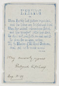 Autographs:Authors, Rudyard Kipling Signed Quote....