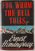 "Books:First Editions, Ernest Hemingway. For Whom the Bell Tolls. New York: CharlesScribner's Sons, 1940. First edition, with ""A"" on copyr..."
