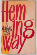 Books:First Editions, Ernest Hemingway. A Moveable Feast. London: Jonathan Cape,1964]. First edition. Octavo. 191 pages. Publisher's ...