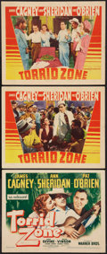 "Movie Posters:Adventure, Torrid Zone (Warner Brothers, 1940 and R-1943). Title Lobby Cardand Lobby Cards (2) (11"" X 14""). Adventure.. ... (Total: 3 Items)"