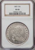 Early Dollars: , 1803 $1 Small 3 XF45 NGC. NGC Census: (61/97). PCGS Population(39/47). Mintage: 85,634. Numismedia Wsl. Price for problem ...