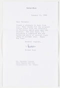 Books:Signed Editions, Herman Wouk. Typed Letter Signed and on Author's Letterhead. Single page and dated 1999. Letter from Wou...