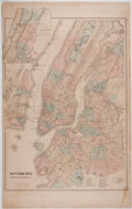 Antiques:Posters & Prints, Striking Color Map of New York City, Including Brooklyn, Jersey City, and Hoboken. [n. d., ca 1890]. Measures 27.5 x 17.25 i...