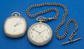 Timepieces:Pocket (post 1900), Two Pocket Watches - Elgin & Waltham 12 Sizes One With SterlingChain. ... (Total: 2 Item)