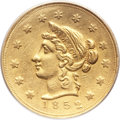 Territorial Gold, 1852 $10 Wass Molitor Ten Dollar, Large Head, Wide Date -- Filed Rims -- Genuine PCGS. K-4, R.5....