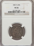Seated Quarters: , 1857-S 25C VF25 NGC. NGC Census: (1/35). PCGS Population (2/37).Mintage: 82,000. Numismedia Wsl. Price for problem free NG...