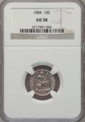 Seated Dimes: , 1884 10C AU58 NGC. NGC Census: (11/316). PCGS Population (5/297).Mintage: 3,365,505. Numismedia Wsl. Price for problem fre...