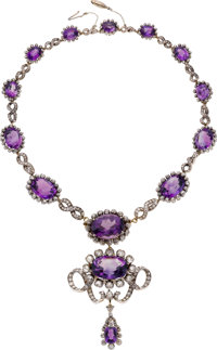 Victorian Amethyst, Diamond, Silver-Topped Gold Necklace, Netherlands