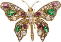 Estate Jewelry:Brooches - Pins, Victorian Diamond, Emerald, Ruby, Cultured Pearl, Gold Brooch. ...