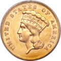 Three Dollar Gold Pieces, 1863 $3 MS62 PCGS....