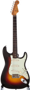 Musical Instruments:Electric Guitars, 1961 Fender Stratocaster Sunburst Solid Body Electric Guitar,#66400....