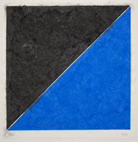 ELLSWORTH KELLY (American, b. 1923) Colored Paper Image XV (dark gray and blue), 1976 Colored, press