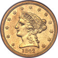 Liberty Quarter Eagles, 1842 $2 1/2 AU55 NGC....