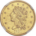 Classic Quarter Eagles, 1839-O $2 1/2 AU55 NGC. High Date, Wide Fraction, Breen-6152,Variety 27, R.3....