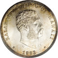 Coins of Hawaii: , 1883 25C Hawaii Quarter MS67 PCGS. Four official denominations ofHawaiian silver coinage were produced at the San Francisc...