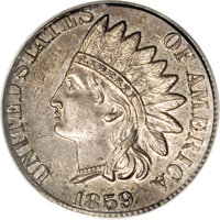 1859 1C Indian Cent--Obverse Struck on 1857 Half Dime--MS63 PCGS. Apparently unique with no rumor of any other similar e...