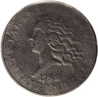 1792 P10C Flowing Hair Disme, Judd-10, Pollock-11, High R.6, Fine 12 NGC. The obverse portrays Liberty facing to the lef...