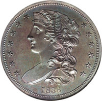 1838 P50C Half Dollar, Judd-72, Pollock-75, R.5, PR65 NGC. On the obverse a bust of Liberty, with luxuriant hair tresses...