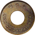 Patterns: , 1850 P1C Annular One Cent, Judd-121, Pollock-136, High R.6, PR65 Brown NGC. Struck on an annular (ring) planchet. The obver...