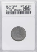 Patterns: , 1854 E1C One Cent, Judd-158, Pollock-185, High R.6--Damaged, Cleaned--ANACS. XF Details, Net PR20. A very unusual issue tak...