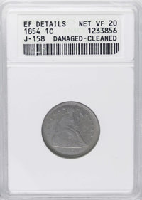 1854 E1C One Cent, Judd-158, Pollock-185, High R.6--Damaged, Cleaned--ANACS. XF Details, Net PR20. A very unusual issue...