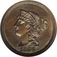 1854 P1C One Cent, Judd-160, Pollock-187, R.4, PR64 Brown NGC. The obverse shows Liberty with a braided hair design and...