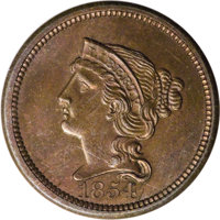 1854 P1C One Cent, Judd-161 Original, Pollock-187, R.4, PR64 Red and Brown PCGS. Reduced size and starless large cent wi...