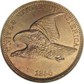 1856 P1C Flying Eagle Cent, Judd-184, Pollock-220, Low R.7, PR62 NGC. The obverse shows a flying eagle in a plain field...
