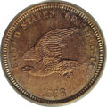 Patterns: , 1858 P1C Flying Eagle Cent, Judd-202, Pollock-245-246, R.5, PR65PCGS. Snow-PT19. The hook-necked eagle obverse, generally ...