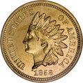 "Patterns: , 1858 P1C Indian Cent, Judd-213, Pollock-257 R.5, PR64 NGC. On the obverse: The ""Indian princess"" head, with a rounded bust ..."