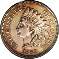 1859 Indian Cent, Judd-227, R.6, MS63 PCGS. Regular dies obverse from 1859 paired with a different reverse that features...