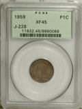 Patterns: , 1859 P1C Indian Cent, Judd-228, Pollock-272, R.1, XF45 PCGS. Atransitional pattern that mates an 1859 obverse with the oak...
